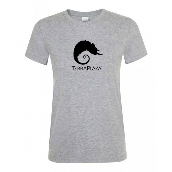 TerraPlaza simple black logo grey melange női póló