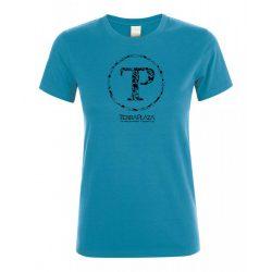 TerraPlaza kör logo aqua női póló