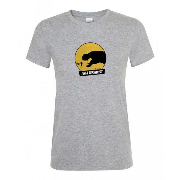 T-rex terrarista grey melange női póló