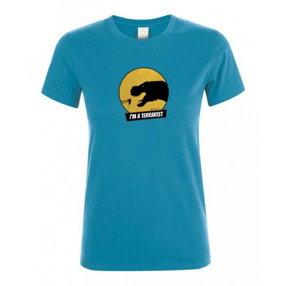 T-rex terrarista aqua női póló