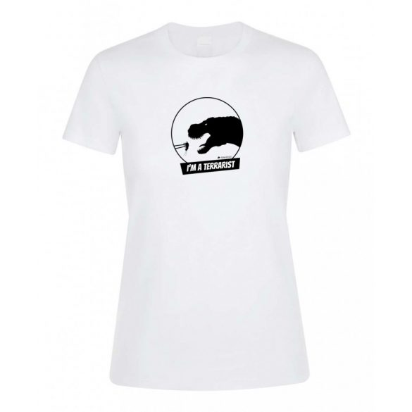 T-rex terrarista white női póló