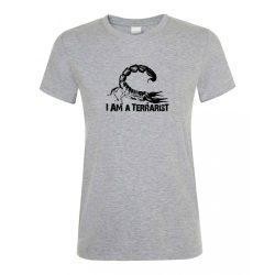 I'm a terrarist sorpion grey melange női póló