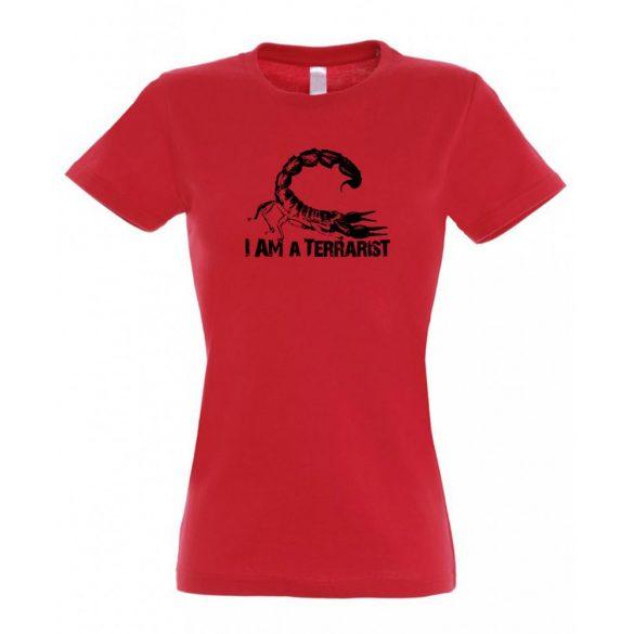 I'm a terrarist sorpion red női póló