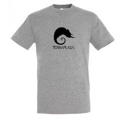 TerraPlaza simple black logo grey melange férfi póló