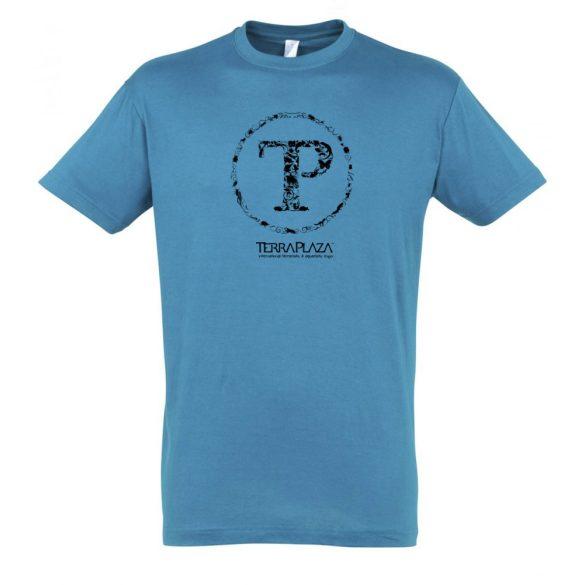 TerraPlaza kör logo aqua férfi póló