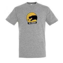 T-rex terrarista grey melange férfi póló