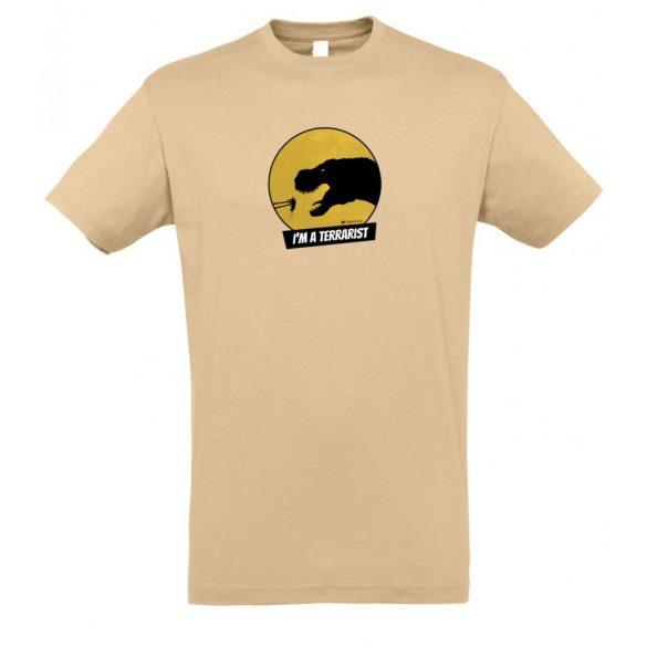 T-rex terrarista sand plusz férfi póló