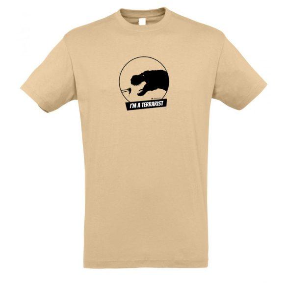 T-rex terrarista sand férfi póló