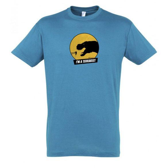 T-rex terrarista aqua férfi póló