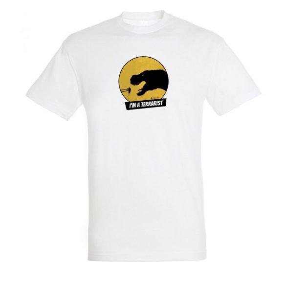 T-rex terrarista white plusz férfi póló
