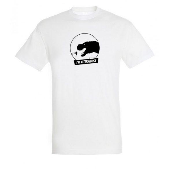 T-rex terrarista white férfi póló