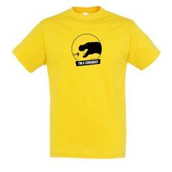 T-rex terrarista gold férfi póló