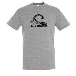 I'm a terrarist scorpion grey melange férfi póló