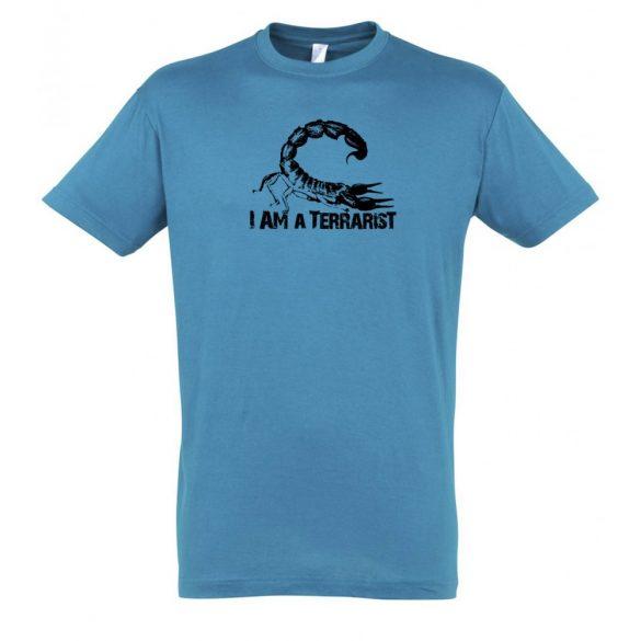 I'm a terrarist scorpion aqua férfi póló