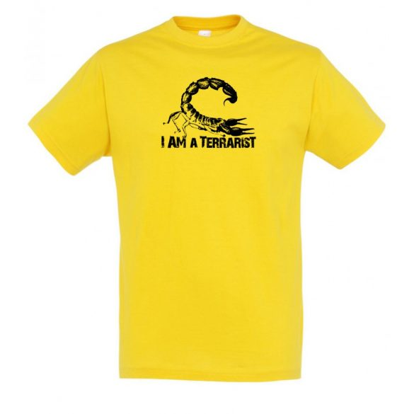 I'm a terrarist scorpion gold férfi póló