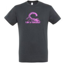 I'm a terrarist scorpion purple mouse grey férfi póló