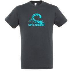 I'm a terrarist scorpion blue mouse grey férfi póló