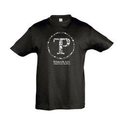 TerraPlaza kör fehér logo fekete gyermek póló