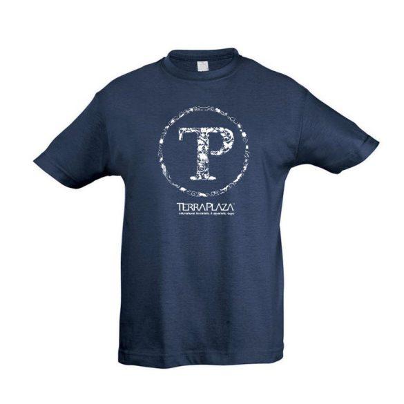TerraPlaza kör fehér logo denim gyermek póló