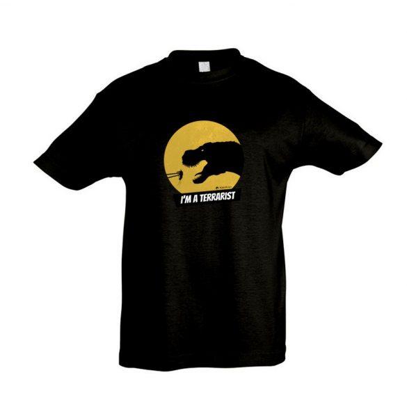 T-rex terrarista black gyermek póló