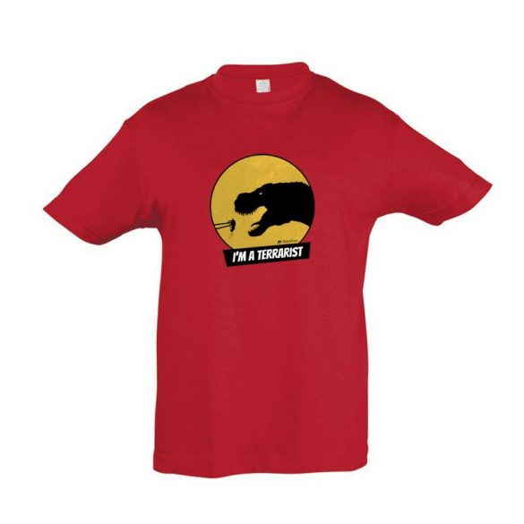 T-rex terrarista red gyermek póló