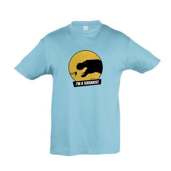 T-rex terrarista atoll blue gyermek póló