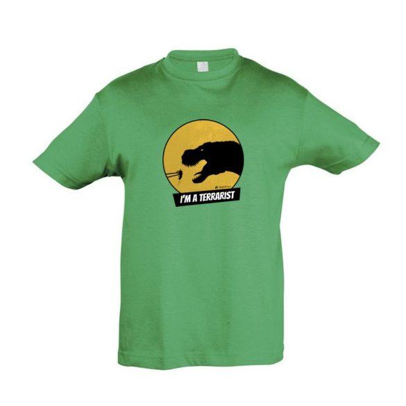 T-rex terrarista green gyermek póló