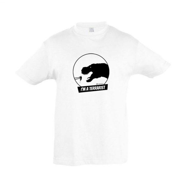 T-rex terrarista white gyermek póló