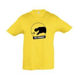 T-rex terrarista gold gyermek póló