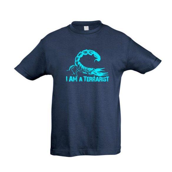 I'm a terrarist scorpion blue denim gyermek póló