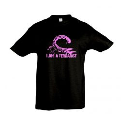 I'm a terrarist scorpion purple black gyermek póló
