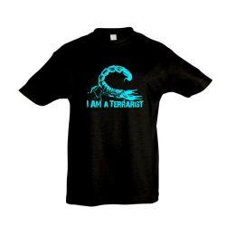 I'm a terrarist scorpion blue black gyermek póló