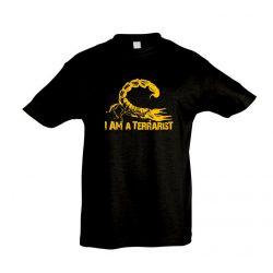 I'm a terrarist scorpion yellow black gyermek póló