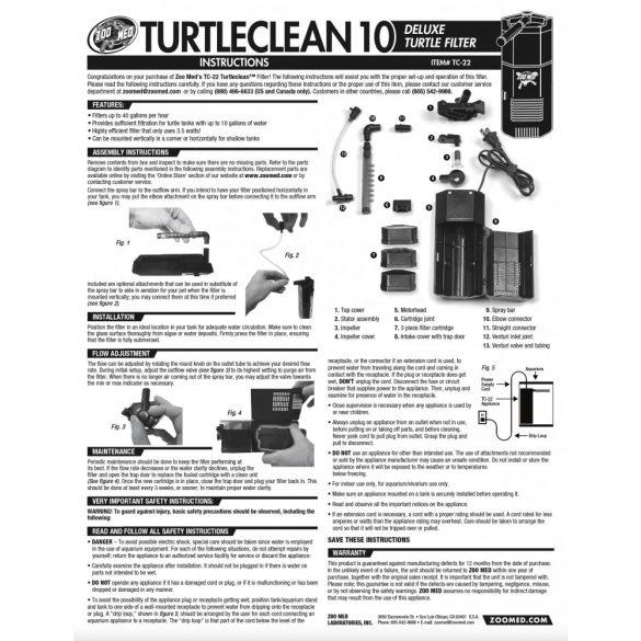 Zoo Med TurtleClean 10 - energiatakarékos teknős szűrő - 37 litertől