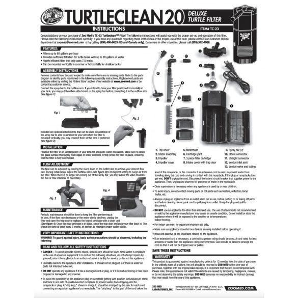 Zoo Med TurtleClean 20 - energiatakarékos teknős szűrő - 75 litertől