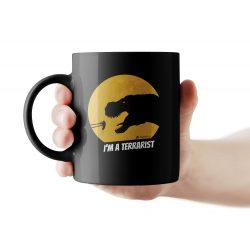 T-rex terrarista fekete bögre